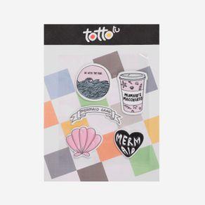 sticker-para-nina-adhesivo-de-espuma-go-with-the-flow-banda-de-sirena-concha-vaso-corazon-koichy-morado-Totto