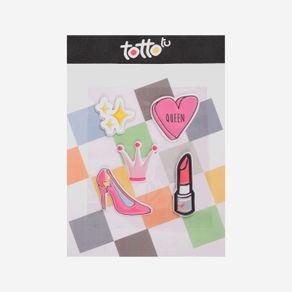 sticker-para-nina-adhesivo-de-espuma-estrella-corona-tacon-labial-corazžn-koichy-rosado-Totto