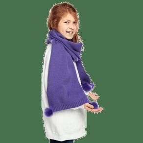 bufanda-para-nina-ika-jr-con-pompones-en-el-borde-morado-ultra-violet
